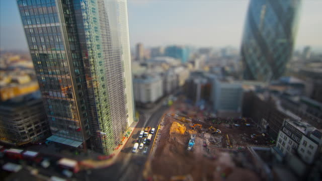 Miniature London -  Building work near the Heron Tower with the Gherkin in the background