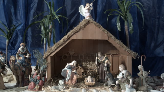 ZI, CU, Miniature Nativity scene in church, Manhattan Beach, California, USA