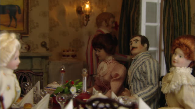 miniaturised late victorian scene, dinner party, dolls house, leonardslee gardens, west sussex, uk - 19th century style stock videos & royalty-free footage