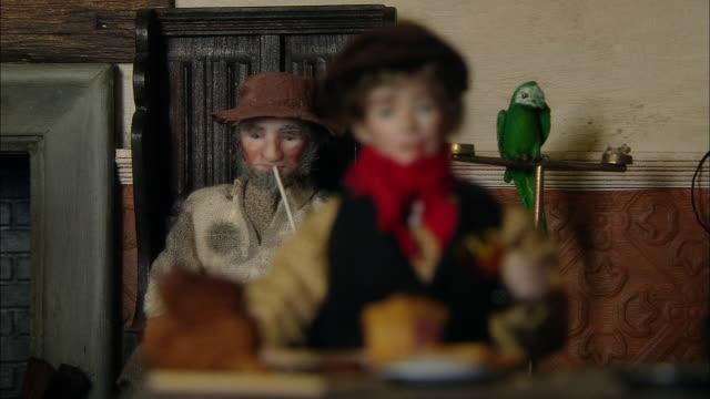 miniaturised late victorian scene, doll eating, dolls house, leonardslee gardens, west sussex, uk - 19th century style stock videos & royalty-free footage
