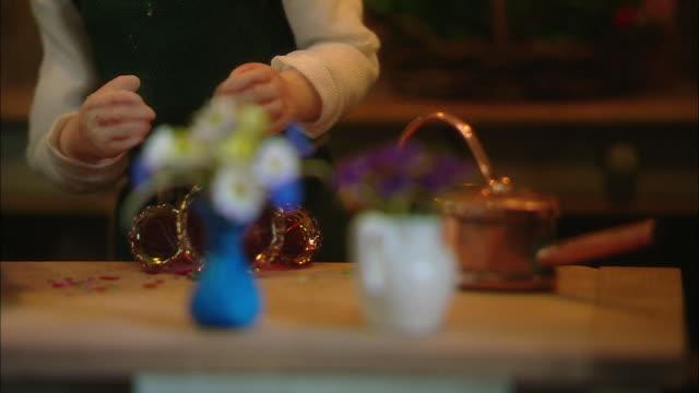 Miniaturised late Victorian scene, florist, Dolls house, Leonardslee Gardens, West Sussex, UK