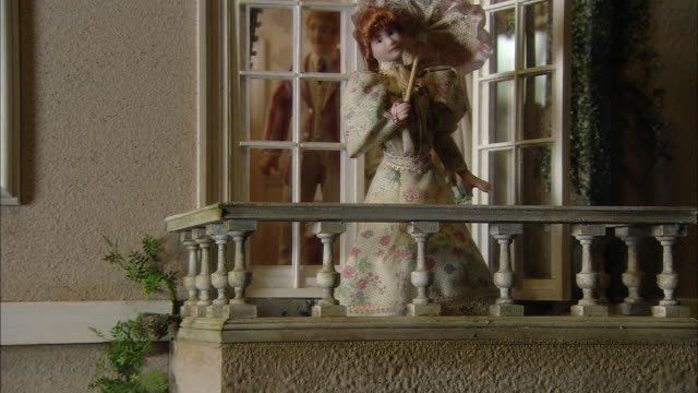 miniaturised late victorian scene, outside of house, dolls house, leonardslee gardens, west sussex, uk - victorian stock videos & royalty-free footage