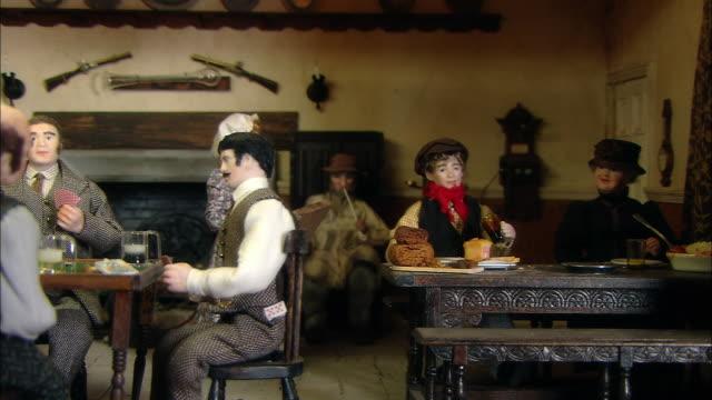 miniaturised late victorian scene, pub, dolls house, leonardslee gardens, west sussex, uk - 19th century style stock videos & royalty-free footage