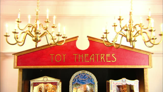 miniaturised late victorian scene, toy theatres, dolls house, leonardslee gardens, west sussex, uk - dollhouse stock videos & royalty-free footage
