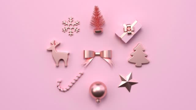 minimal abstract motion animation metallic rose gold shape 3d rendering pink scene flat lay christmas holiday concept - still life stock videos & royalty-free footage