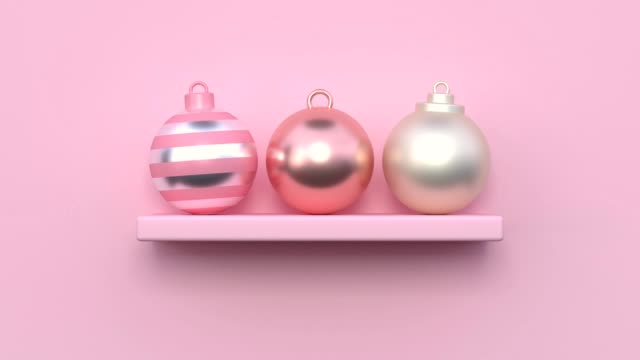 minimal abstract motion animation metallic rose gold shape 3d rendering pink scene flat lay ball christmas holiday concept - flat lay stock videos & royalty-free footage
