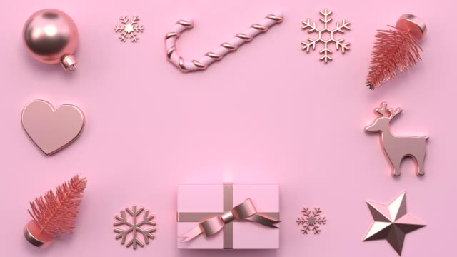 minimal abstract motion animation metallic rose gold shape 3d rendering pink scene flat lay christmas holiday concept