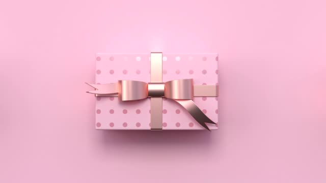minimal abstract motion animation metallic rose gold shape 3d rendering pink scene flat lay gift box christmas holiday concept - flat lay stock videos & royalty-free footage