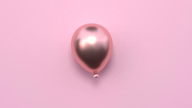 minimal abstract motion animation metallic rose gold shape 3d rendering pink scene flat lay balloon christmas holiday concept