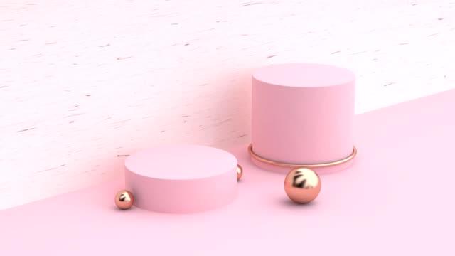 minimal abstrakt rosa trä scen geometriska formen tomt utrymme pallen 3d motion-rendering - kula geometriformad bildbanksvideor och videomaterial från bakom kulisserna