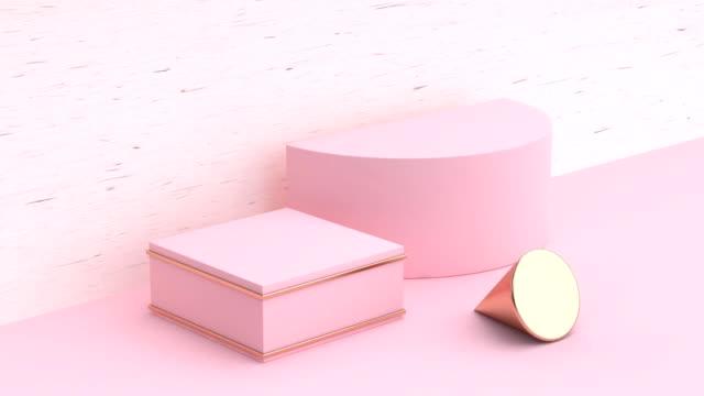 minimal abstrakte rosa holz szene geometrische form leerzeichen podium 3d-rendering bewegung - geometrische form stock-videos und b-roll-filmmaterial