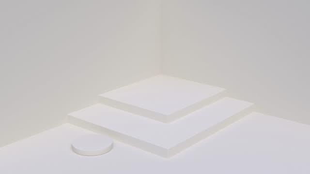 minimo vuoto scena parete pavimento angolo forma geometrica 3d rendering sfondo astratto - scale video stock e b–roll