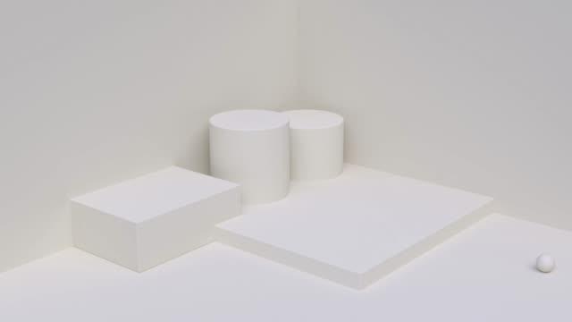 minimal blank scene wall floor corner geometric shape 3d rendering abstract background - simplicity stock videos & royalty-free footage