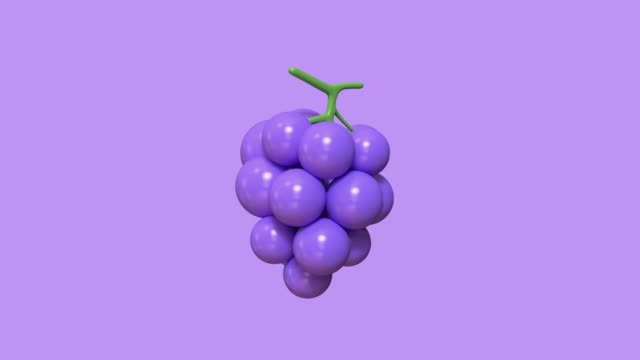 minimal purple grape cartoon style 3d rendering abstract motion - grape stock videos & royalty-free footage