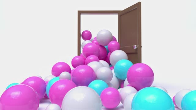 minimal white scene brown door open many sphere/ball overflow/spill pink white blue colorful abstract motion 3d rendering - overflowing stock videos & royalty-free footage
