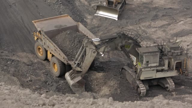 mining dump truck loaded with coal - dump truck stock videos and b-roll footage