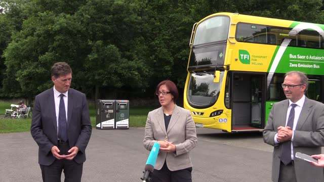 minister eamon ryan, anne graham, nta ceo, stephen kent, ceo, bus aireann and andreas bieringer, md of boc gases ireland, speak at the launch of new... - mode of transport stock videos & royalty-free footage