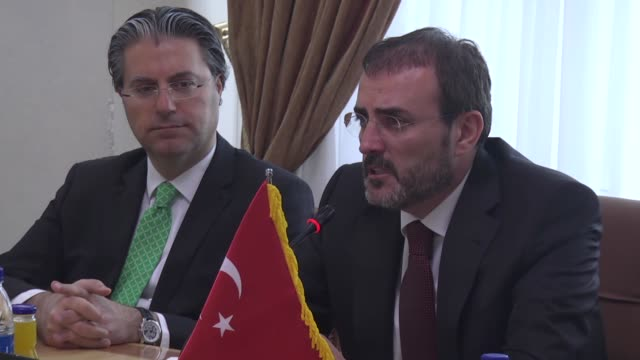 Minister of Culture and Tourism of Turkey Mahir Unal and Iranian Communication Minister Mahmoud Vaezi hold a joint press conference following their...