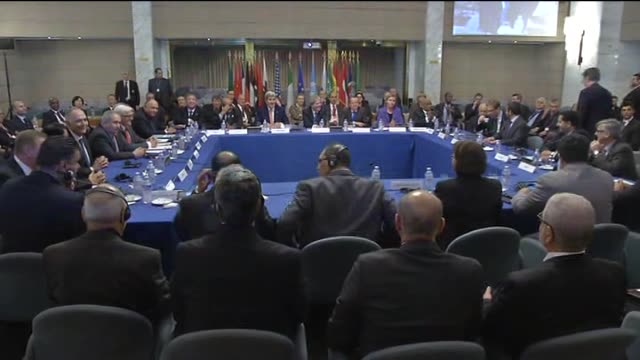 minister of foreign affairs of turkey mevlut cavusoglu and us secretary of state john kerry take part in an international conference on libya at the... - foreign minister stock videos and b-roll footage
