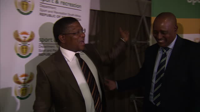 minister of sport fikile mbalula departing press conference at safa house conference centre in johannesburg where he addressed allegations... - fußballweltmeisterschaft 2010 stock-videos und b-roll-filmmaterial