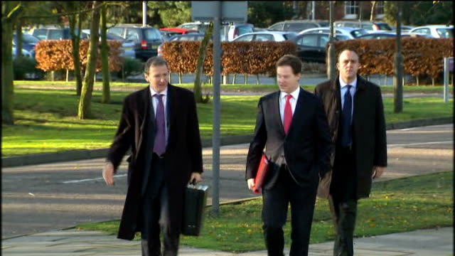 Ministers arrive at regional Cabinet meeting in Ipswich ENGLAND Suffolk Ipswich EXT Andrew Lansley MP arriving / Iain Duncan Smith MP arriving /...