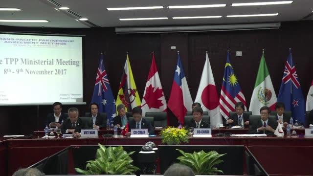 ministers from eleven asiapacific countries the so called tpp 11 meet on the sidelines of the apec summit in vietnam to discuss the proposed trade... - danang stock videos & royalty-free footage