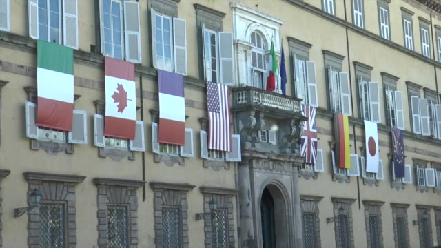 ministers of foreign affairs meeting begin in lucca italy on april 10 2017 the foreign ministers of italy the united states britain france germany... - g7サミット点の映像素材/bロール