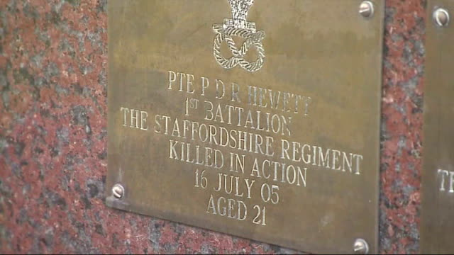 ministry of defence awaits decision on army families' compensation staffordshire national arboretum ext plaque in commemoration of private hewitt on... - memorial plaque stock videos and b-roll footage