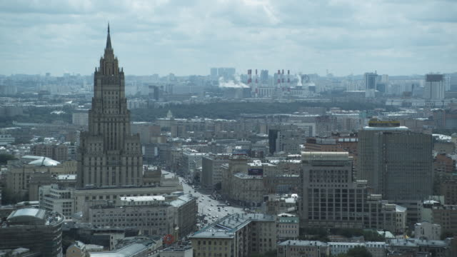 ws ha ministry of foreign affairs, moscow heating network 'mosenergo' in distance / moscow, russia - moscow russia stock videos & royalty-free footage