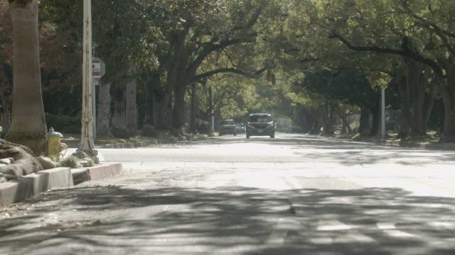 WS Minivan speeding down a suburban street / Pasadena, California, United States