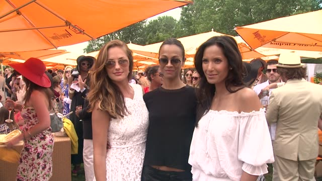 minka kelly zoe saldana and padma lakshmi at the fifth annual veuve clicquot polo classic at liberty state park on june 02 2012 in jersey city new... - 動物を使うスポーツ点の映像素材/bロール