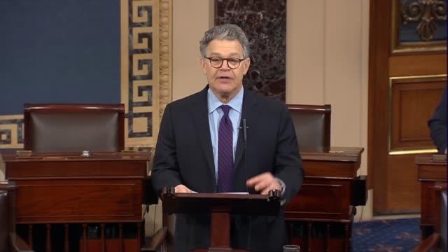 Minnesota Senator Al Franken tells the Senate he was excited about a national conversation Finally beginning to listen to women affected by men's...