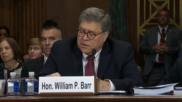 minnesota senator amy klobuchar asks attorney general william barr at a senate judiciary committee hearing on the report of special counsel robert... - hinrichtung stock-videos und b-roll-filmmaterial