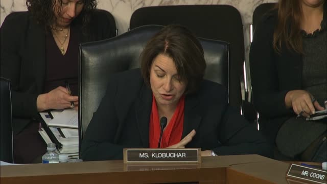 minnesota senator amy klobuchar asks justice department inspector general michael horowitz at a senate judiciary committee hearing on his report into... - amy carter stock videos & royalty-free footage