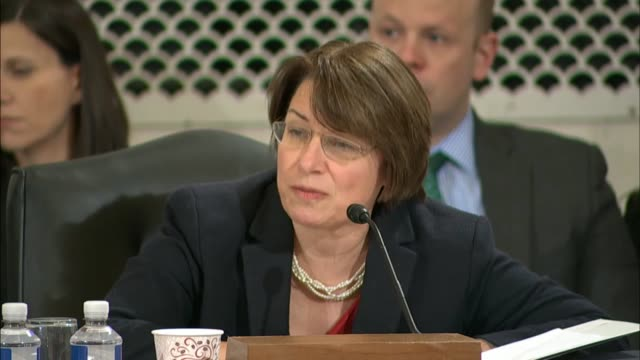 minnesota senator amy klobuchar asks senator jeff sessions at his nomination hearing to be the next attorney general about voting rights voter... - voting rights stock videos & royalty-free footage