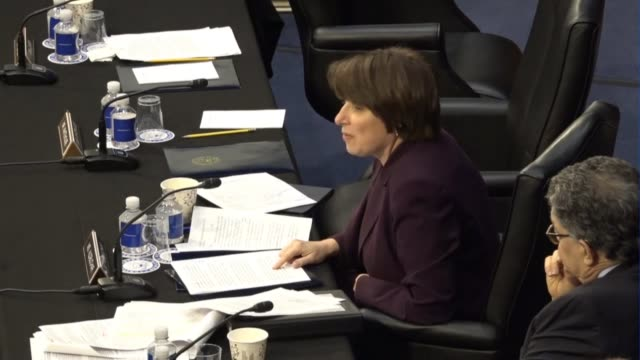 minnesota senator amy klobuchar reads from a prepared statement at a meeting of the senate judiciary committee prior to a vote on sending the... - senate judiciary committee stock videos & royalty-free footage