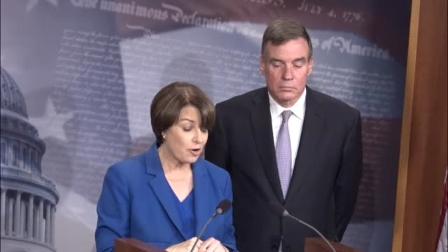 Minnesota Senator Amy Klobuchar says at a news conference on the Honest Ads Act introduced because a framework of regulations is needed to shield...