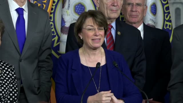 minnesota senator amy klobuchar says at a news conference with democrats that president trump had said pharmaceuticals were getting away with murder... - prescription drug costs stock videos & royalty-free footage