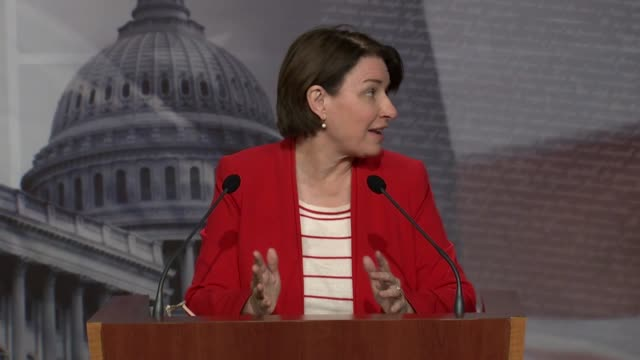 minnesota senator amy klobuchar says at a weekly press conference that the job is americans and senators was to put the right information at the to... - senate stock videos & royalty-free footage