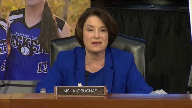 minnesota senator amy klobuchar says continuing opening remarks at first senate judiciary committee hearing with seventh circuit judge amy coney... - court hearing stock videos & royalty-free footage
