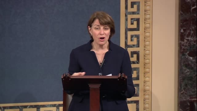minnesota senator amy klobuchar says days after a un panel on climate change report was released that by 2030 greenhouse gas pollution must be... - paris agreement stock videos & royalty-free footage