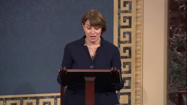 minnesota senator amy klobuchar says days after a un panel on climate change report was released that 195 countries had pledged to combat climate... - paris agreement stock videos & royalty-free footage