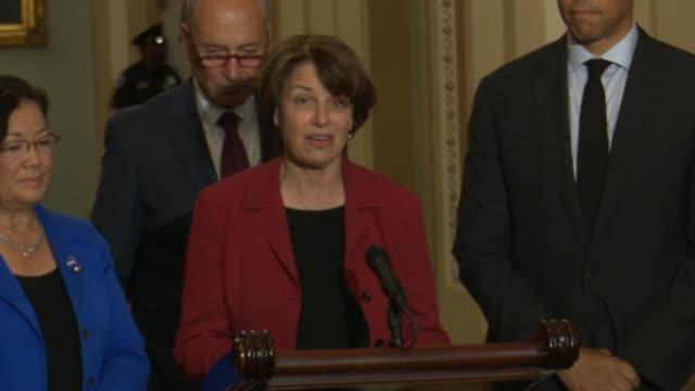Minnesota Senator Amy Klobuchar tells reporters a day after President Donald Trump nominated Judge Brett Kavanaugh to the Supreme Court Americans'...