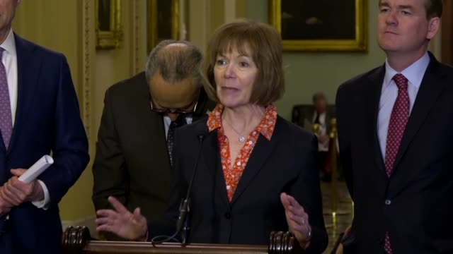 minnesota senator tina smith tells reporters that she was not a part of tax reform passed the preceding december completely partisan and not how to... - prescription drug costs stock videos & royalty-free footage
