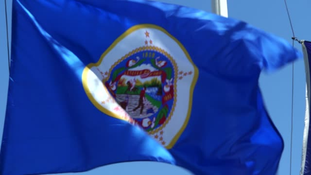 minnesota state flag waving in the breeze - minnesota stock videos & royalty-free footage