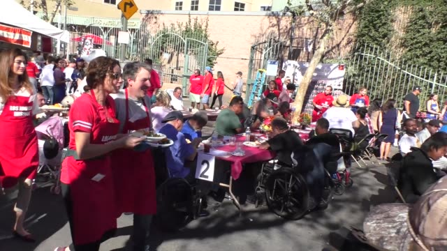 minnie driver and geoff stults at the los angeles mission thanksgiving meal for the homeless in los angele at celebrity sightings in los angeles on... - minnie driver stock videos and b-roll footage