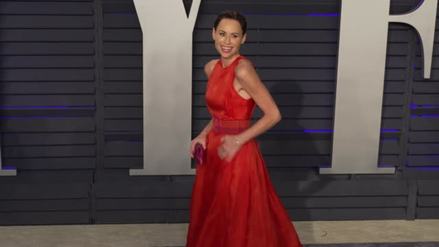 minnie driver at 2019 vanity fair oscar party hosted by radhika jones at wallis annenberg center for the performing arts on february 24 2019 in... - minnie driver stock videos and b-roll footage