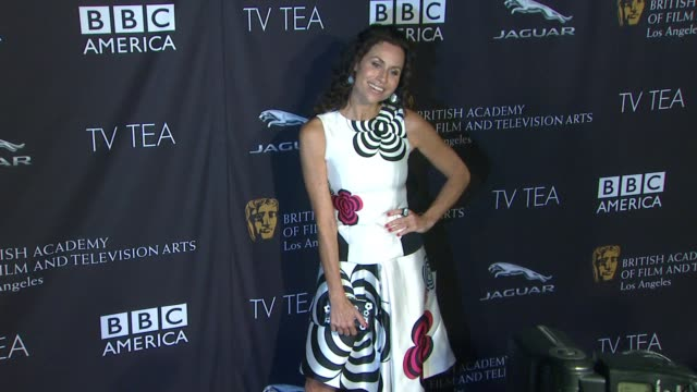 stockvideo's en b-roll-footage met minnie driver at bafta la tv tea 2014 presented by bbc america and jaguar in los angeles ca - minnie driver