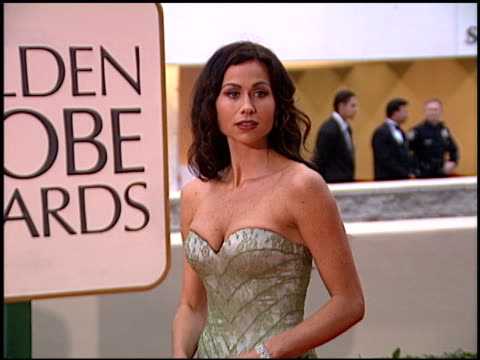 minnie driver at the 1998 golden globe awards at the beverly hilton in beverly hills california on january 18 1998 - minnie driver stock videos and b-roll footage