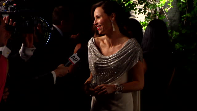 minnie driver at the 2012 vanity fair oscar party hosted by graydon carter inside party at west hollywood ca - minnie driver stock videos and b-roll footage